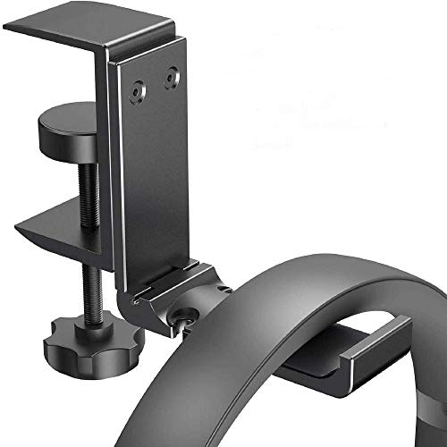 Gaming Headset Headphone Hook Holder Hanger Mount, Headphones Stand with Adjustable, Under Desk Design, Universal Fit, Built in Cable Clip Organizer (Black)