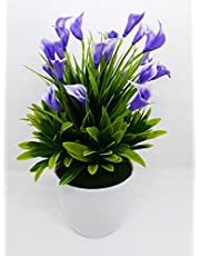 FLYNGO Artificial Flowers Plants with Plastic Pot