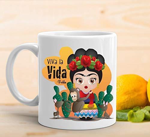 adaysusdetalles Taza Frida Kahlo,Taza Ceramica Desayuno Regalo Cumpleanos Sorpresa