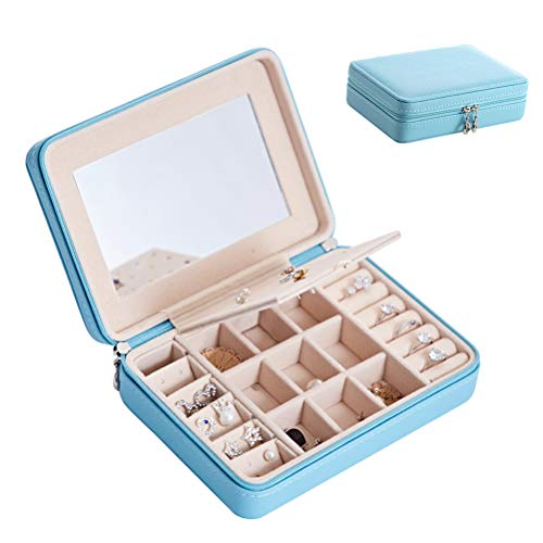 HKHJ Travel Jewelry Box, Portable Mirrored Jewellery Organizer Small Display Storage Case for Rings Earrings Necklaces, Best Gifts Choice for Girls Women,Blue