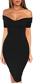 LAGSHIAN Women's Sexy Summer Bodycon Off Shoulder V Neck Short Sleeve Midi Club Dress