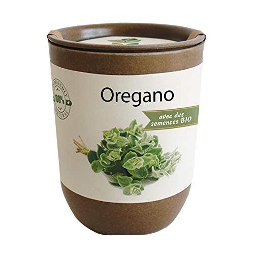 Feel Green Ecocan, Oregano Certifiées Bio, Idée Cadeau (100% Biodégradable), Grow-Your-Own/Kit Prêt-à-Pousser, Le Pot Écologique Qui Croît 9 x 7 cm, Produit en Autriche