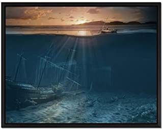 Sunken Ship - Art Print Wall Art Canvas stretched With Black Wooden Frame - Ready To Hang - 24x16 Inches