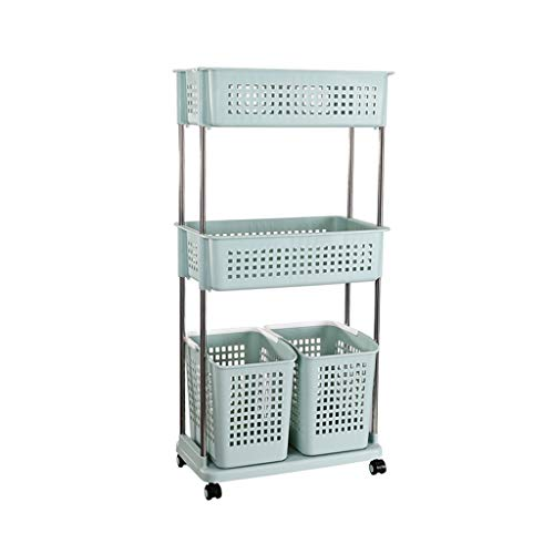 3-Tier Rolling Storage Basket Trolley Laundry Sorter Cart Shelf Floor-Standing Hamper High Capacity Dirty Clothes Basket Utility Storage Organizer with Side Hooks for Washing Bin Kitchen Basin