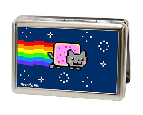 Buckle-Down Business Card Holder - Nyan Cat Face CLOSE-UP Blue - Large