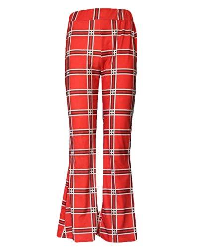 BingSai - Pantalones a Cuadros para Mujer, Cintura Alta, elásticos, Estilo Hippie, Retro Rojo Rosso S