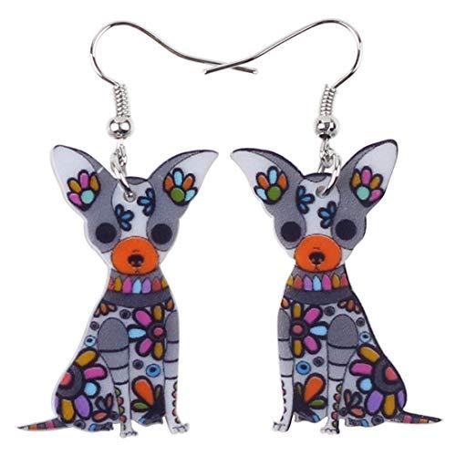 XUBB - Pendientes de acrílico para perro chihuahua sentado en forma de gota, joyería de animales para niñas y mujeres, regalo original, gris