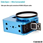 """Gurmoir Case Aluminum Alloy Back Door Housing Frame for Gopro Hero 8 Black Action Camera, Wire connectable Protective… 12 This Aluminum Housing Designed for Gopro Hero 5/Gopro HERO (2018) Action Camera, Blue Make Your Gopro More Unique Your Gopro camera will be more safety during high-velocity sport or daily using. No more worries about the camera will falling out. you can just enjoy your shooting time with 1/4 inch screw hole. the case can compatible with any 1/4"""" tripod. or you can DIY your kit. Sides open allow quick connect of cables. with the Cold Shoe, you can mount a flash, video light, microphone on the top of this case"""