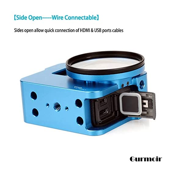 """Gurmoir Case Aluminum Alloy Back Door Housing Frame for Gopro Hero 8 Black Action Camera, Wire connectable Protective… 5 This Aluminum Housing Designed for Gopro Hero 5/Gopro HERO (2018) Action Camera, Blue Make Your Gopro More Unique Your Gopro camera will be more safety during high-velocity sport or daily using. No more worries about the camera will falling out. you can just enjoy your shooting time with 1/4 inch screw hole. the case can compatible with any 1/4"""" tripod. or you can DIY your kit. Sides open allow quick connect of cables. with the Cold Shoe, you can mount a flash, video light, microphone on the top of this case"""