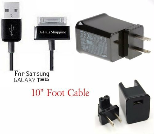 10 Ft. (EXTRA LONG) USB Data Cable Cord Charger + 2 Amp AC Wall Charger for Samsung Galaxy Tab 1, 2, 10.1, Note Tablet GT-N8013 (USA SELLER) (A-Plus Shopping)