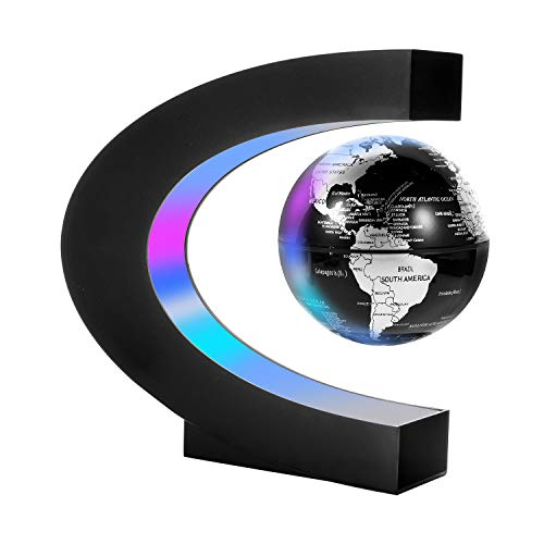 Gresus Magnetic Levitation Floating World Map Globe with C Shape Base, Floating Globe with LED Lights, Great Fathers Students Teacher Business Boyfriend Birthday Gift