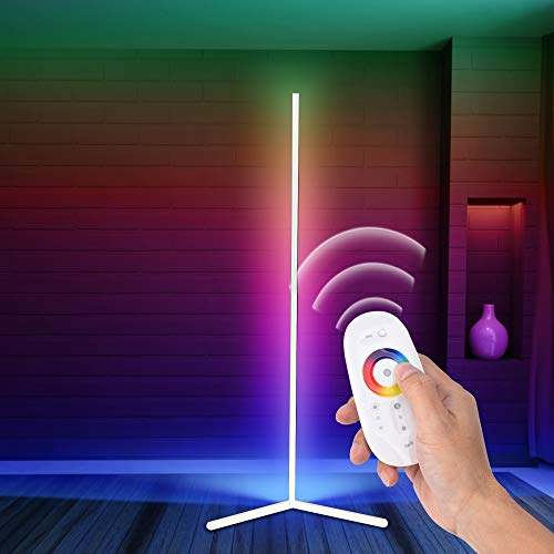 RGB Corner Floor Lamp, Room Lamp LED Dimmable Remote Control Colour Changing Bedside Tall Standing Lamp,Modern Minimalist Atmosphere Night Light [White]