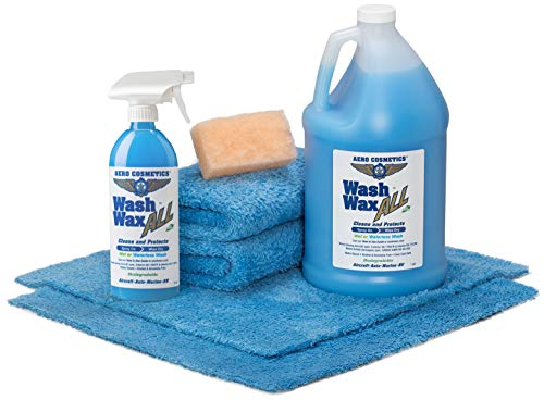Wet or Waterless Car Wash Wax Kit 144oz. Aircraft Quality for Your Car, RV, Boat, Motorcycle. Home, Office, School, Garage, Parking Lots. (w/Premium Aero Towels & Mini Aero Scrubber)