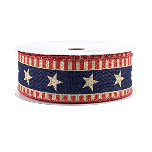 Stars and Bars Patriotic Ribbon - 1 1/2' x 10 Yards, American Flag Wired Ribbon, Memorial Day, President's Day, Veteran's Day, 4th of July, DIY Crafts, USA Decor, Rustic, Election, Rally