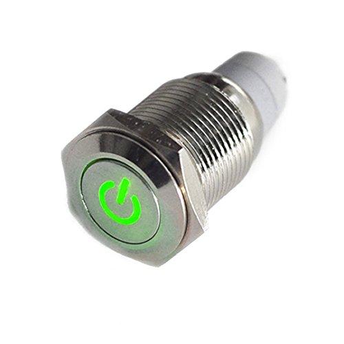 HOTSYSTEM 16mm 12V Selbsthaltender Schalter Metall LED Beleuchtet Drucktaster Druckschalter Druckknopf Ein-Ausschalter für Auto KFZ Grün