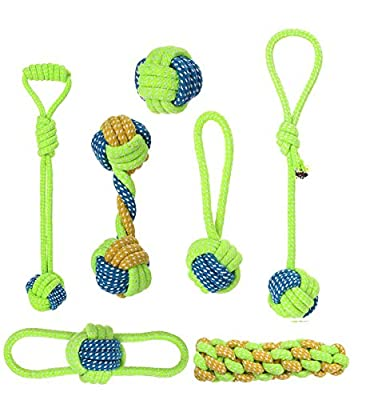 rainday Dog Rope Toys,Dog Chew Toy 7 pieces Set Dog Interactive Toy, Puppy Molar Toy, Beneficial to Dental Health and Teeth Cleaning for Small Medium Dogs