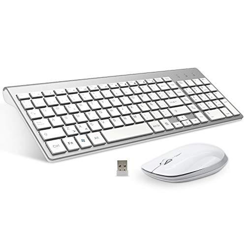 FENIFOX Teclado y Raton inalambrico, diseño ergonómico 2,4 G Teclado inalámbrico y ratón Combinado con Nano Receptor USB para PC de Escritorio, Mac OS Windows Linux (Plata)