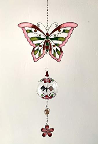 Fensterbild Tiffany-Art Schmetterling rosa/grün mit Lichtmühle handbemalt
