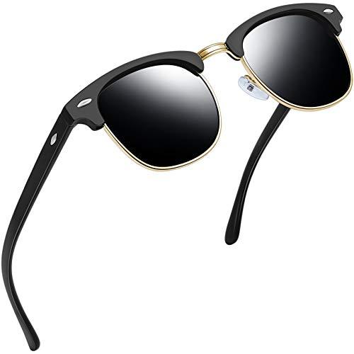 Joopin Gafas de sol Hombre Polarizadas Retro Clásico Media Montura Gafas de sol para Mujer (Marco negro mate)