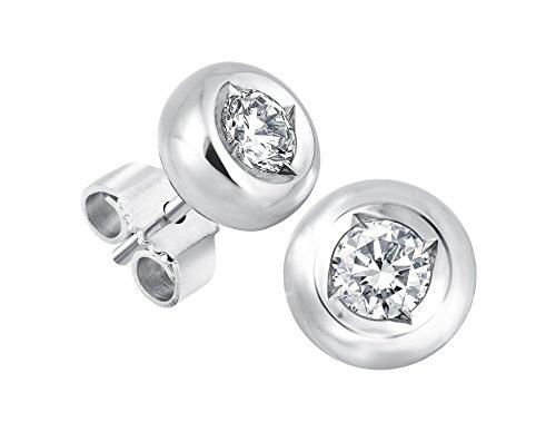 Diamant Ohrstecker Lupenrein 0, 50 ct 585 14 Kt Weißgold bauchige Fassung Brillant Schliff