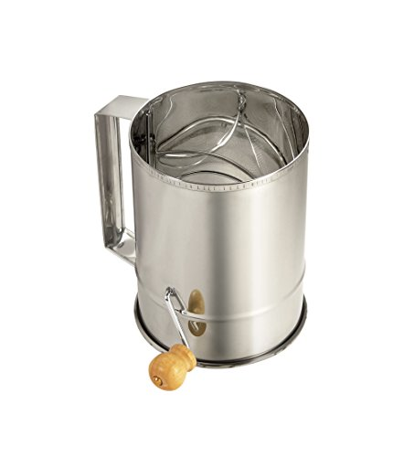 Paderno World Cuisine Stainless Steel Sifter with Crank Handle