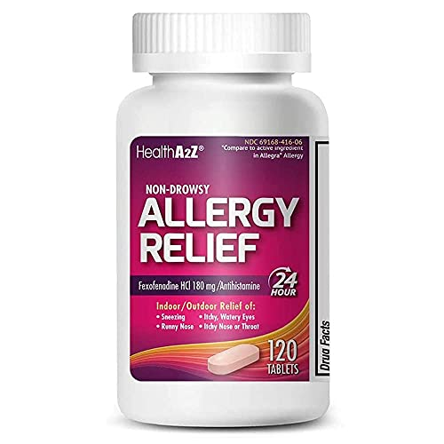 HealthA2Z Fexofenadine Hydrochloride 180mg, Antihistamine for Allergy Relief ,Non-Drowsy,24-Hour, 120 Count Coated Caplets,Compare to Allegra Active Ingredient