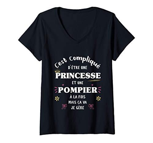 Femme Princesse et Pompier À la Fois Femme Original Humour Drôle T-Shirt avec Col en V