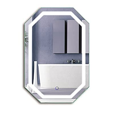 Krugg Octagon LED Bathrom Mirror 20 Inch X 30 Inch   Lighted Wall Mount Vanity Mirror Includes Defogger & Dimmer   Vertical or Horizontal Install
