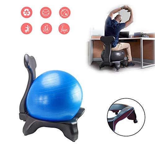 BODODO Ballstuhl/Fitness Ball Stuhl/Balance Ballstuhl, mit Rollen Robuster Sitzball, mit Yoga-Ball, für Zuhause und Büro Schreibtisch, für einen gesunden Rücken Chair Büro und zuhause