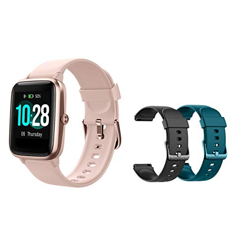 MCNNADI Smart Watch Fitness Tracker [with 2 Extra Bands/Straps] Heart Rate/Sleep Monitor & Stress Control, Activity Tracker with 1.3″ Touch Screen, Waterproof, Pedometer, Step Counter for Women Men