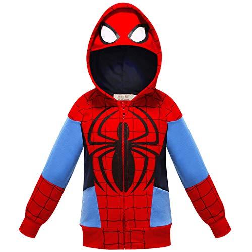 YeMao Bambini Supereroe Spiderman con Cappuccio Tasca con Cerniera a Maniche Lunghe Felpa Giacca per Ragazzi Ragazze,Red-110