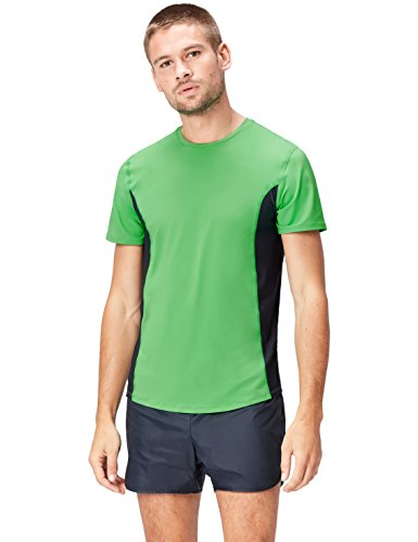 Marca Amazon - Activewear Camiseta Técnica Hombre, verde (Apple Green/Black Apple Green/Black), M, Label: M