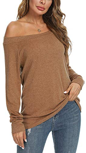 YSYOKOW Womens Cute Sexy Off Shoulder Blouses Long Sleeve Boat Neck Tunics Tops(Brown, Medium)