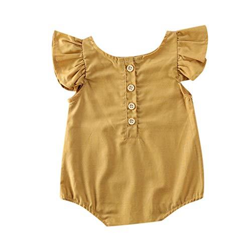 LABIUO Vêtements Bébé Fille Naissance 0-18 Mois Pyjama Pas Cher Doux Coton Volants sans Manches Grenouillère Barboteuse Combinaison