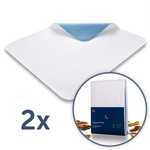 Blumtal Matratzenauflage, wasserdicht und waschbar - Saugvlies, 75x90cm, Inkontinenzauflage, 1er & 2er Set (75x90cm 2er, Vlies)