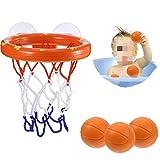 BUYGOO Juguete Divertido para el baño del bebé Niñas Edad 1 - 6, Juguete para el baño de Baloncesto y aro Juego Creativo para bañarse en la bañera para niños con Ventosas (1 Canasta, 3 Bolas)