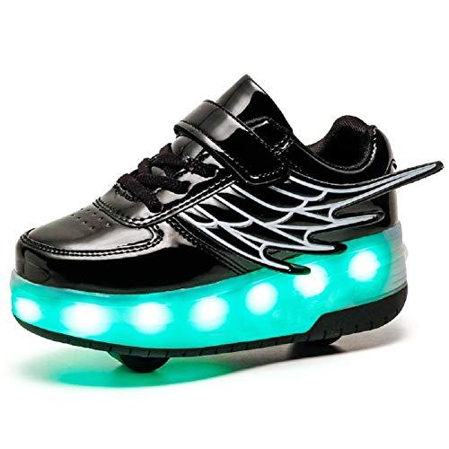 Led Luces Zapatos con Ruedas con Alas Automática Calzado de Skateboarding Deportes de Exterior Patines en Línea USB Recargable Brillante Mutilsport Aire Libre y Deporte Gimnasia Zapatillas Niños Niña