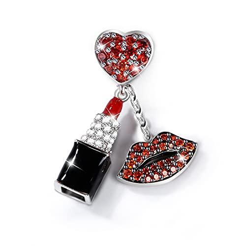 GNOCE Rot Stein Lippenstift Charm Anhänger Mit Roten Lippen 925 Sterling Silber'Begeisterung' Perlen Charms mit Zirkonia für Armbänder Halsketten