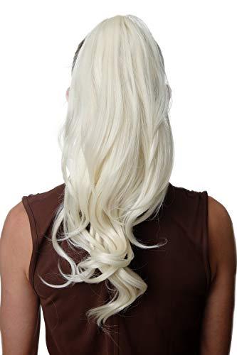 WIG ME UP - SA07-613 Extension natte queue de cheval longue volumineuse ondulée blond platine 30 cm