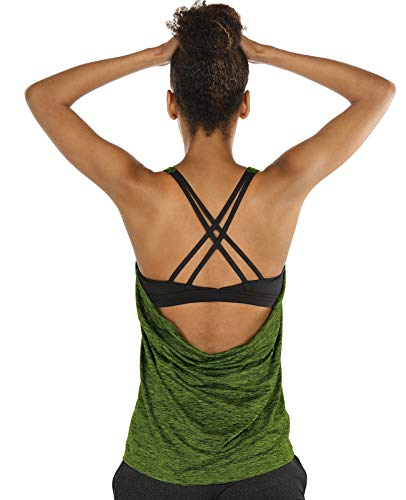 icyzone Damen Sport Yoga Top mit BH - 2 in 1 Fitness Shirt Cross Back BH Training Tanktop (M, Green Heather)