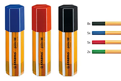 Fineliner - STABILO point 88 - 20er Big point Box Office - schwarz, blau, rot, grün