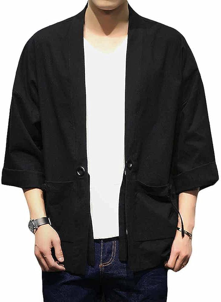 PRIJOUHE Men's Japanese Style Kimono Cardigan Jacket Cotton Blends Linen Seven Sleeves Solid Color Open Front Coat