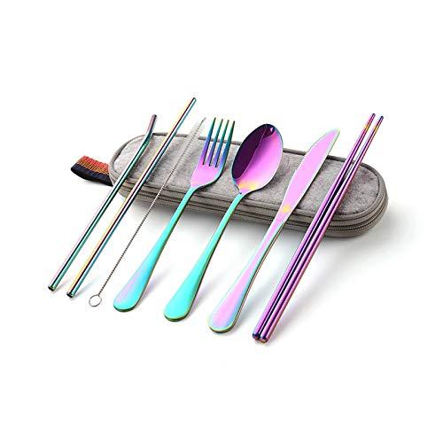Juego de cubiertos de acero inoxidable, tenedores, cuchara, palillos, tubo recto, 8 piezas, arco iris