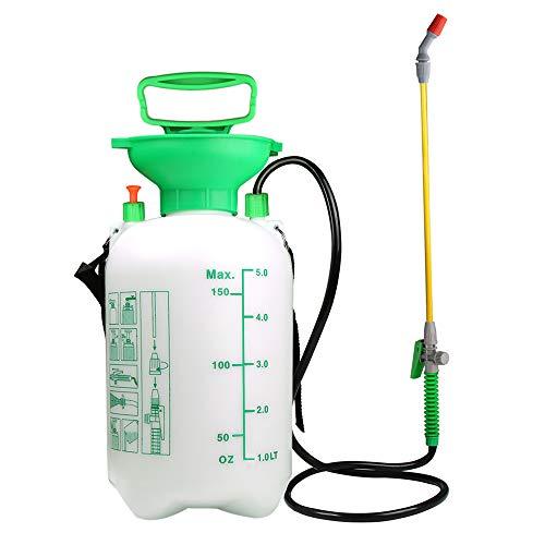 VOXON Drucksprühgerät 5 Liter, Premium Drucksprüher mit Verstellbarer Düse für Garten Jäten und Autowäsche