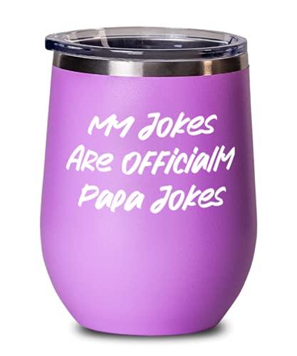Cute Papa, My Jokes Are Official Papa Jokes, copa de vino útil para el día del padre para papá