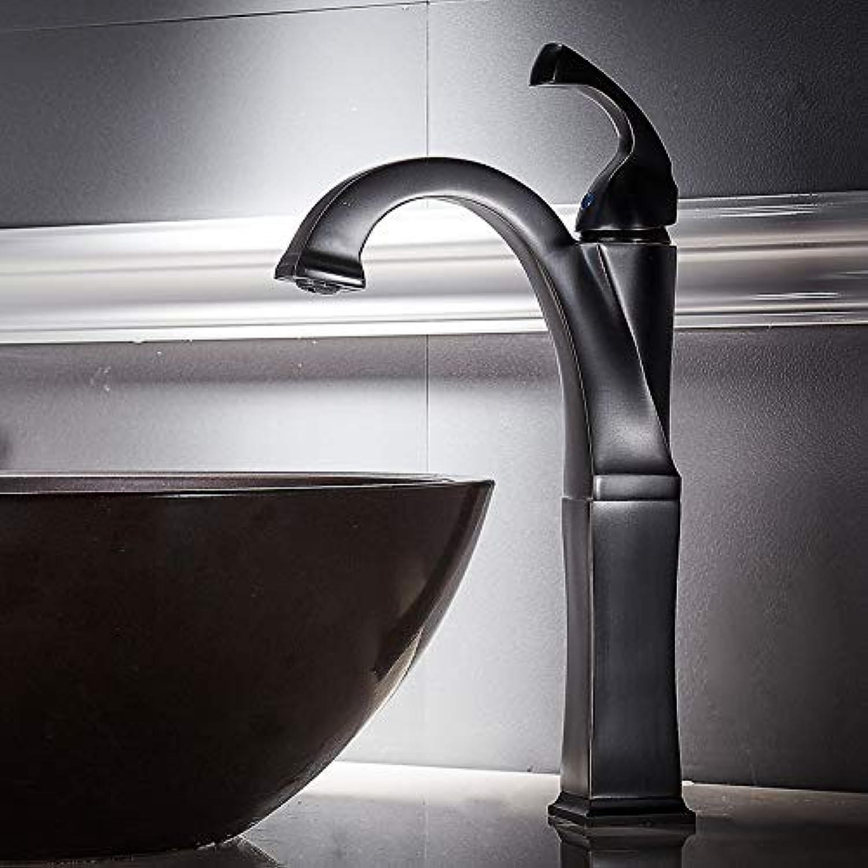 Basin Faucet Sink Faucet Black Pure Copper Basin Faucet Antique Wash Basin Single Hole Hot and Cold Faucet Black Bronze,B