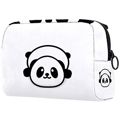 Bolsa de Maquillaje Bolsas de Aseo Organizador de cosméticos Estuche con Cremallera para Mujer Panda Descanso Acostado