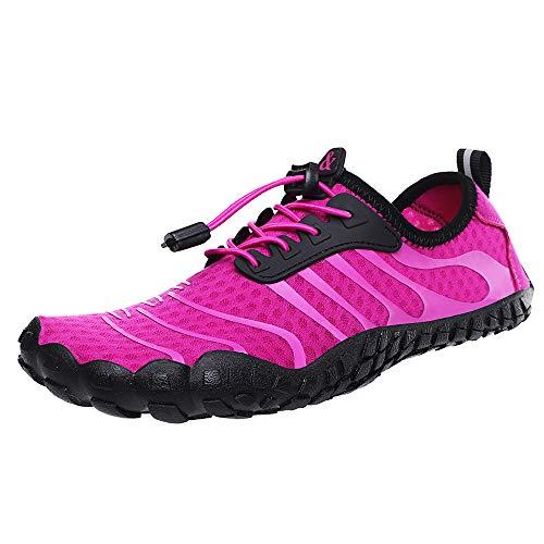 ShePretty Zapatos de río Antideslizante Secado Rápido Hombre Piscina Playa Vela Mar Río Aqua Cycling Deportes Calzado de Natación, Rojo, 37EU
