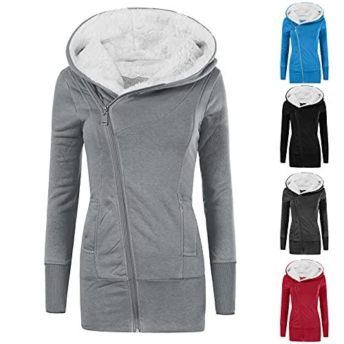 Fankle Women's Hooded Workout Coat Solid Cotton Hoodie Sweatshirt Winter Warm Fleece Padded Coat Slim Thick Zipper Coat(A#Black,Small)