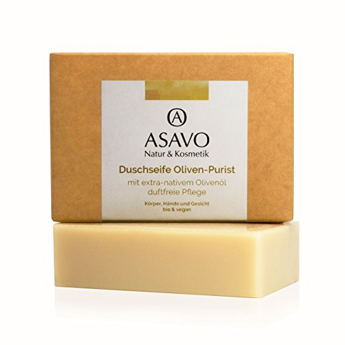 ASAVO Premium Olivenölseife, handgeschöpft mit extra-nativem Bio-Olivenöl, 100% Naturseife, Olivenseife, ohne Parfümzusatz, vegan, 95g
